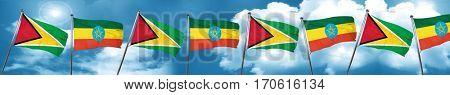 Guyana flag with Ethiopia flag, 3D rendering
