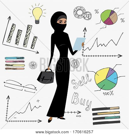 Cartoon Business Woman And Doodle Finance Set.