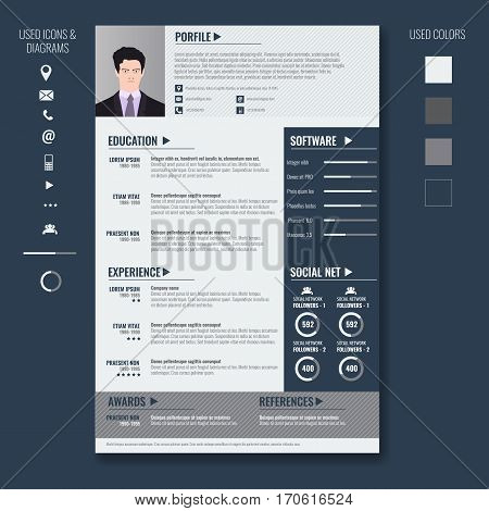 Vector creative minimalist cv resume template with photo frame and infographic charts. Casual solid and clean template .