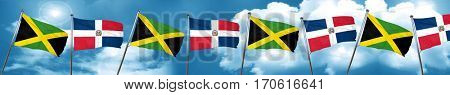 Jamaica flag with Dominican Republic flag, 3D rendering