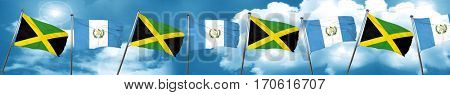 Jamaica flag with Guatemala flag, 3D rendering