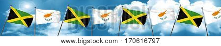 Jamaica flag with Cyprus flag, 3D rendering