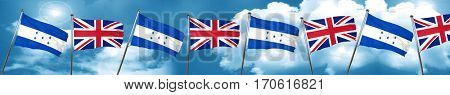 Honduras flag with Great Britain flag, 3D rendering