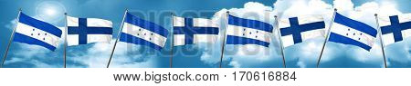 Honduras flag with Finland flag, 3D rendering