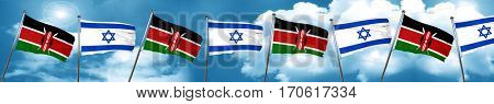 Kenya flag with Israel flag, 3D rendering