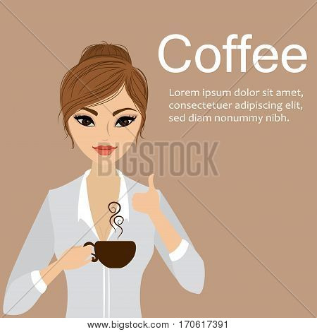 Pretty girl holding a cup of coffeecartoon stock vector illustration.