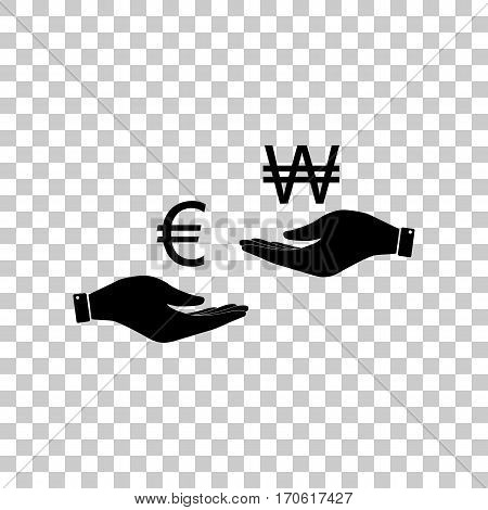 Currency exchange from hand to hand. Euro and Won. Black icon on transparent background.