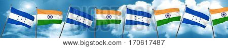 Honduras flag with India flag, 3D rendering