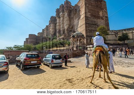 Riding A Camel Outside Mehrangarh Fort