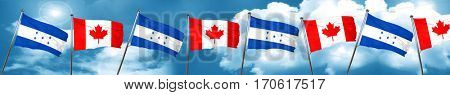 Honduras flag with Canada flag, 3D rendering