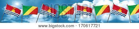 Kiribati flag with congo flag, 3D rendering