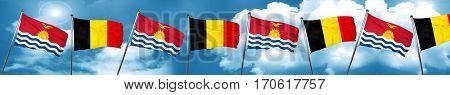 Kiribati flag with Belgium flag, 3D rendering