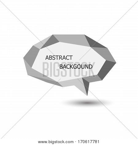 White polygonal geometric speech bubble, stock vector