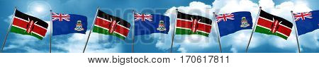 Kenya flag with Cayman islands flag, 3D rendering