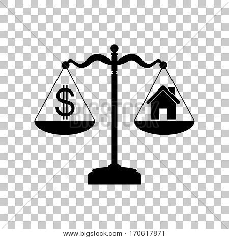 House and dollar symbol on scales. Black icon on transparent background.