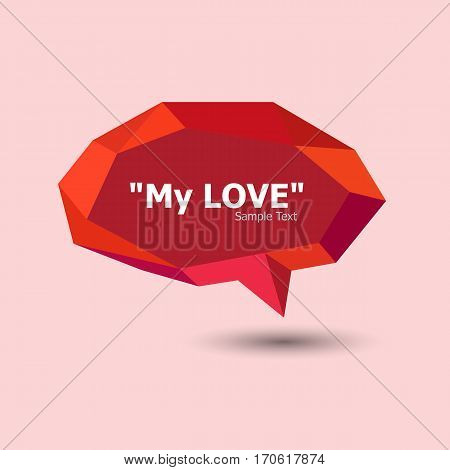 Red polygonal geometric speech bubble, stock vector