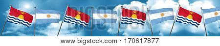 Kiribati flag with Argentine flag, 3D rendering