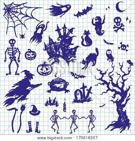 Happy Halloween designs set with various elements of holiday.drawn on notebook sheet style. Stock vector illustration