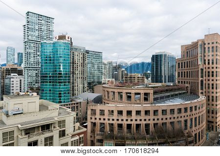 Vancouver, Canada - January 28, 2017: Vancouver public library from high view point with other high rise buildings
