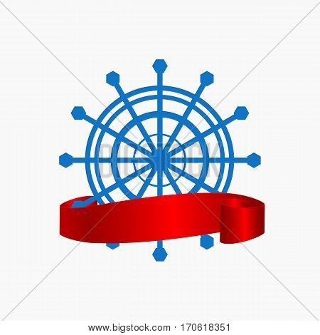 Ship Blue Steering Wheel Corporate Logo With Banner Navigation Symbol Vector Illustration Eps 10