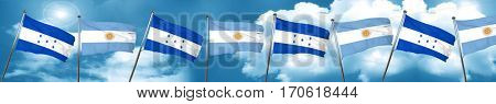 Honduras flag with Argentine flag, 3D rendering