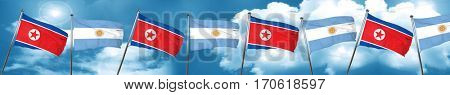 North Korea flag with Argentine flag, 3D rendering