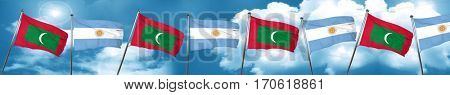 Maldives flag with Argentine flag, 3D rendering