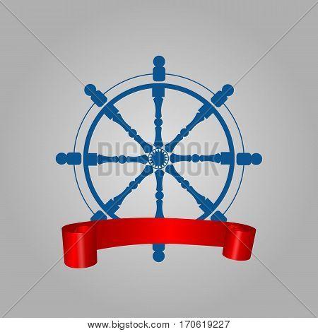Ship Blue Steering Wheel Corporate Logo With Banner Red Ribbon Navigation Symbol Vector Illustration