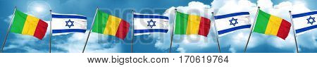 Mali flag with Israel flag, 3D rendering