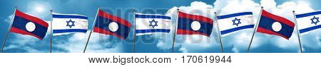 Laos flag with Israel flag, 3D rendering