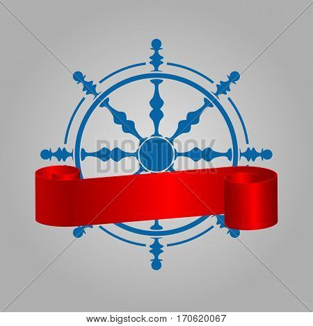 Ship Steering Wheel Corporate Logo With Red Ribbon Navigation Symbol Vector Illustration Eps 10