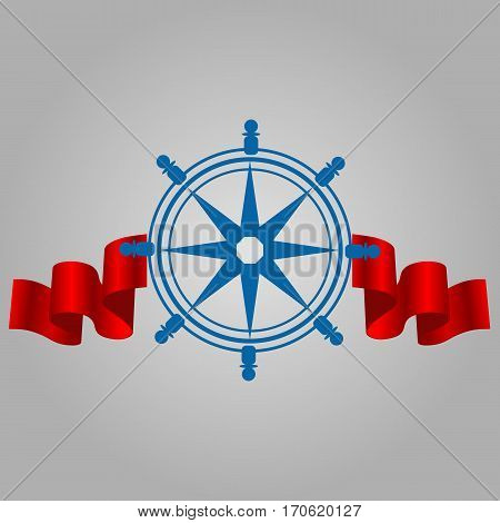 Ship Steering Wheel Corporate Logo With Red Ribbon Vector Illustration Eps 10