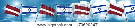 Latvia flag with Israel flag, 3D rendering
