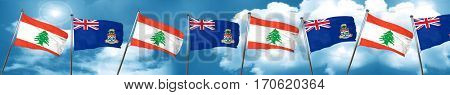 Lebanon flag with Cayman islands flag, 3D rendering