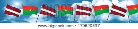 Latvia flag with Burkina Faso flag, 3D rendering