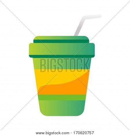Take out drink cup with straw isolated on white. Fresh beverage plastic container takeaway paper cold unhealthy fast food container vector illustration.