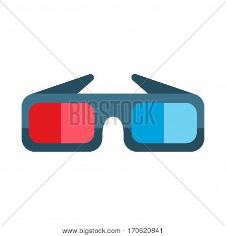 3d cinema movie glasses on white background. Vector illustration stereoscopic dimension paper entertainment sign. Cardboard technology fun stereo vision.