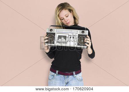 Caucasian Lady Jukebox Music Radio