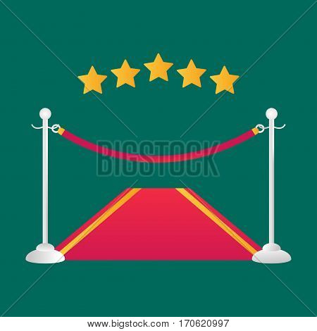 Red event carpet isolated vector illustration. Premiere entertainment hall award vip celebration. Hollywood rope elegance festive glory exclusive interior.