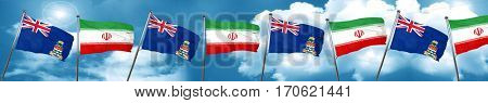cayman islands flag with Iran flag, 3D rendering