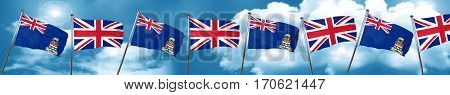 cayman islands flag with Great Britain flag, 3D rendering