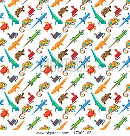 Reptile and amphibian seamless pattern. Colorful fauna illustration snake predator animals. Crocodile silhouette exotic cartoon with tropical iguana background.