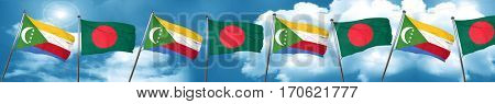 Comoros flag with Bangladesh flag, 3D rendering