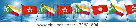 Comoros flag with Hong Kong flag, 3D rendering