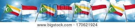 Comoros flag with Indonesia flag, 3D rendering