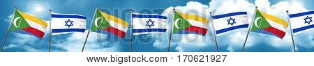 Comoros flag with Israel flag, 3D rendering