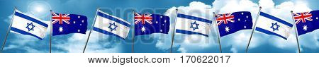 Israel flag with Australia flag, 3D rendering