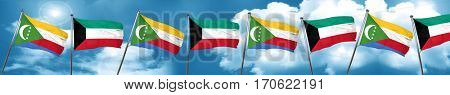 Comoros flag with Kuwait flag, 3D rendering