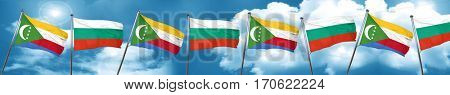 Comoros flag with Bulgaria flag, 3D rendering