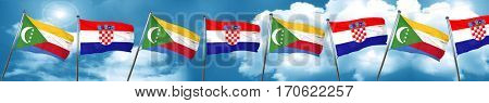 Comoros flag with Croatia flag, 3D rendering